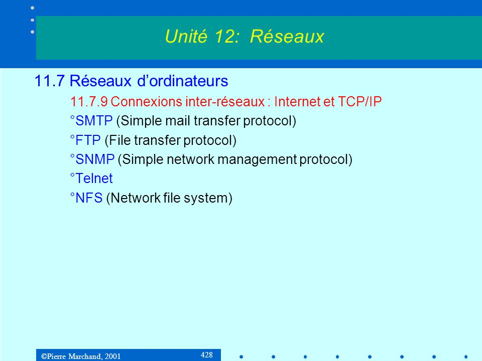 ©Pierre Marchand, 2001 428 11.7 Réseaux dordinateurs 11.7.9 Connexions inter-réseaux : Internet et TCP/IP °SMTP (Simple mail transfer protocol) °FTP (File transfer protocol) °SNMP (Simple network management protocol) °Telnet °NFS (Network file system) Unité 12: Réseaux