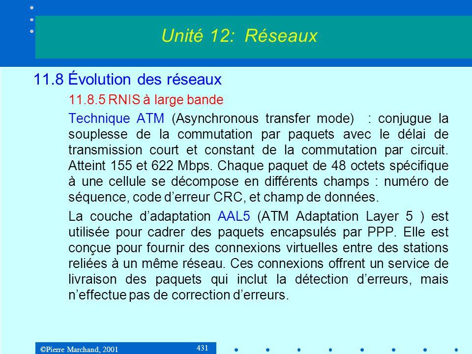 ©Pierre Marchand, 2001 431 11.8 Évolution des réseaux 11.8.5 RNIS à large bande Technique ATM (Asynchronous transfer mode) : conjugue la souplesse de la commutation par paquets avec le délai de transmission court et constant de la commutation par circuit.