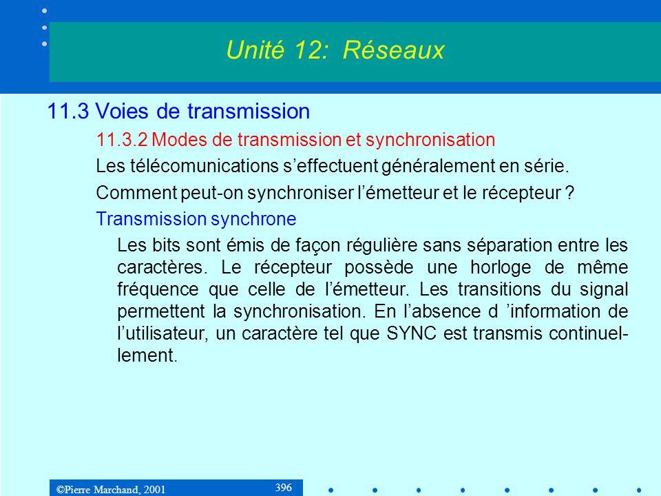 ©Pierre Marchand, 2001 396 11.3 Voies de transmission 11.3.2 Modes de transmission et synchronisation Les télécomunications seffectuent généralement en série.
