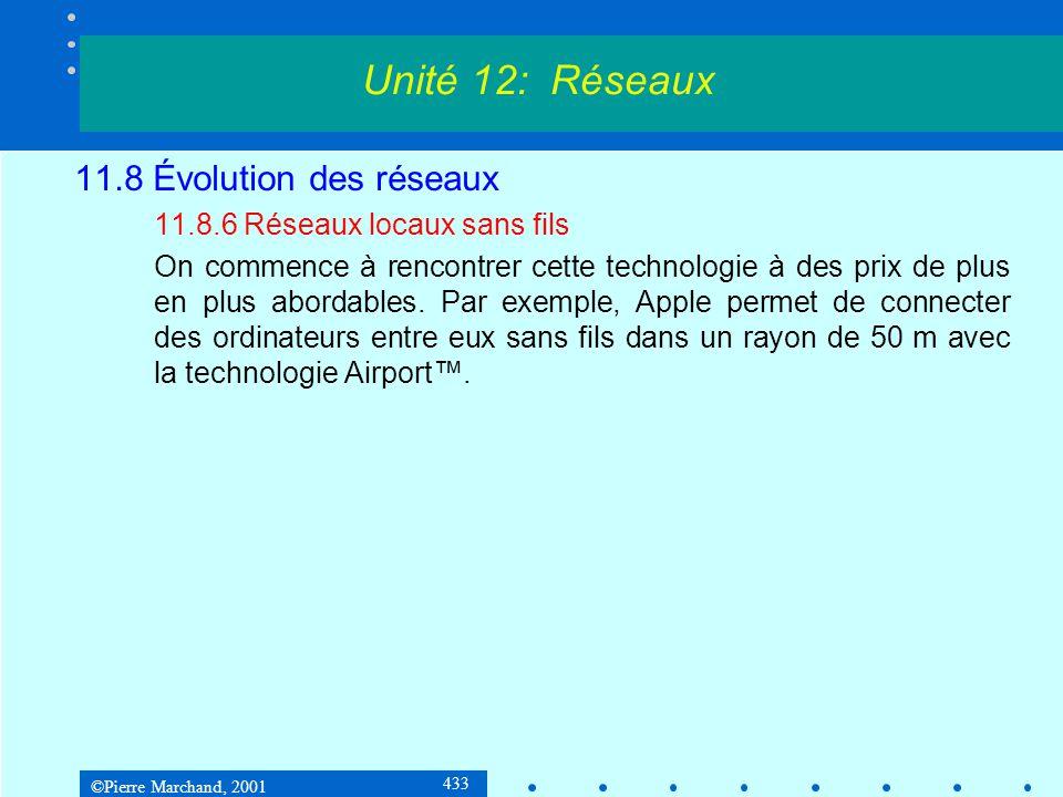 ©Pierre Marchand, 2001 433 11.8 Évolution des réseaux 11.8.6 Réseaux locaux sans fils On commence à rencontrer cette technologie à des prix de plus en plus abordables.