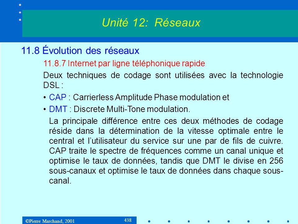 ©Pierre Marchand, 2001 438 Unité 12: Réseaux 11.8 Évolution des réseaux 11.8.7 Internet par ligne téléphonique rapide Deux techniques de codage sont utilisées avec la technologie DSL : CAP : Carrierless Amplitude Phase modulation et DMT : Discrete Multi-Tone modulation.