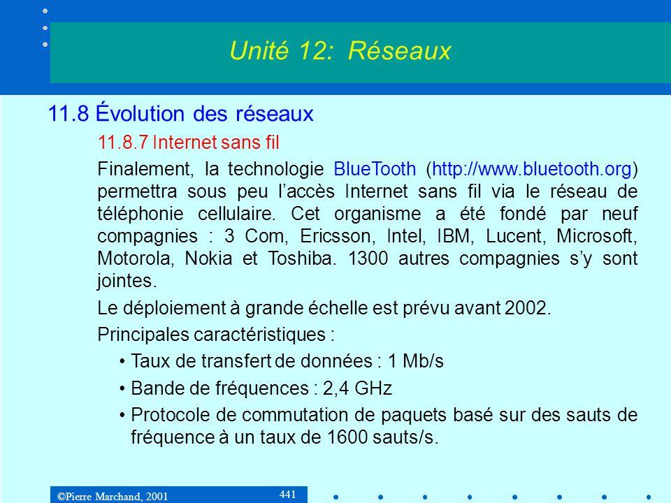 ©Pierre Marchand, 2001 441 Unité 12: Réseaux 11.8 Évolution des réseaux 11.8.7 Internet sans fil Finalement, la technologie BlueTooth (http://www.bluetooth.org) permettra sous peu laccès Internet sans fil via le réseau de téléphonie cellulaire.