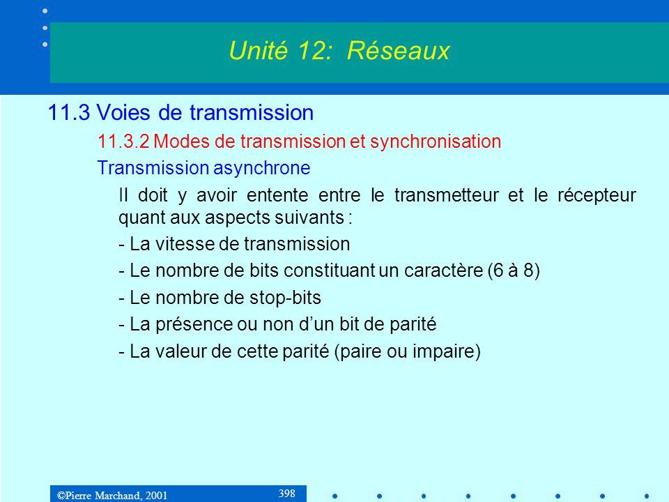 ©Pierre Marchand, 2001 398 11.3 Voies de transmission 11.3.2 Modes de transmission et synchronisation Transmission asynchrone Il doit y avoir entente entre le transmetteur et le récepteur quant aux aspects suivants : - La vitesse de transmission - Le nombre de bits constituant un caractère (6 à 8) - Le nombre de stop-bits - La présence ou non dun bit de parité - La valeur de cette parité (paire ou impaire) Unité 12: Réseaux