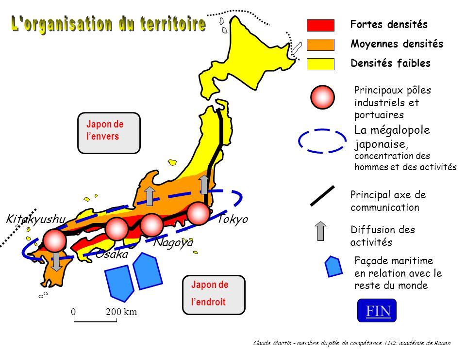 Claude Martin - membre du pôle de compétence TICE académie de Rouen 0200 km Fortes densités Densités faibles Moyennes densités Japon de lenvers Japon