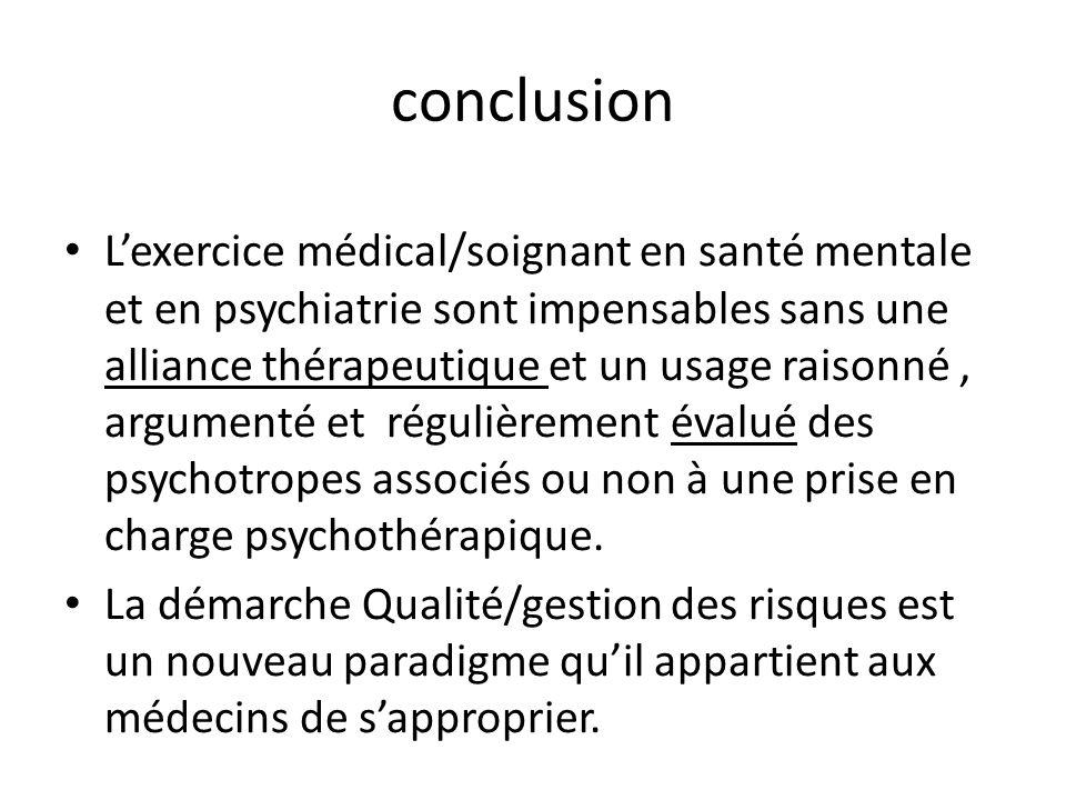 conclusion Lexercice médical/soignant en santé mentale et en psychiatrie sont impensables sans une alliance thérapeutique et un usage raisonné, argume