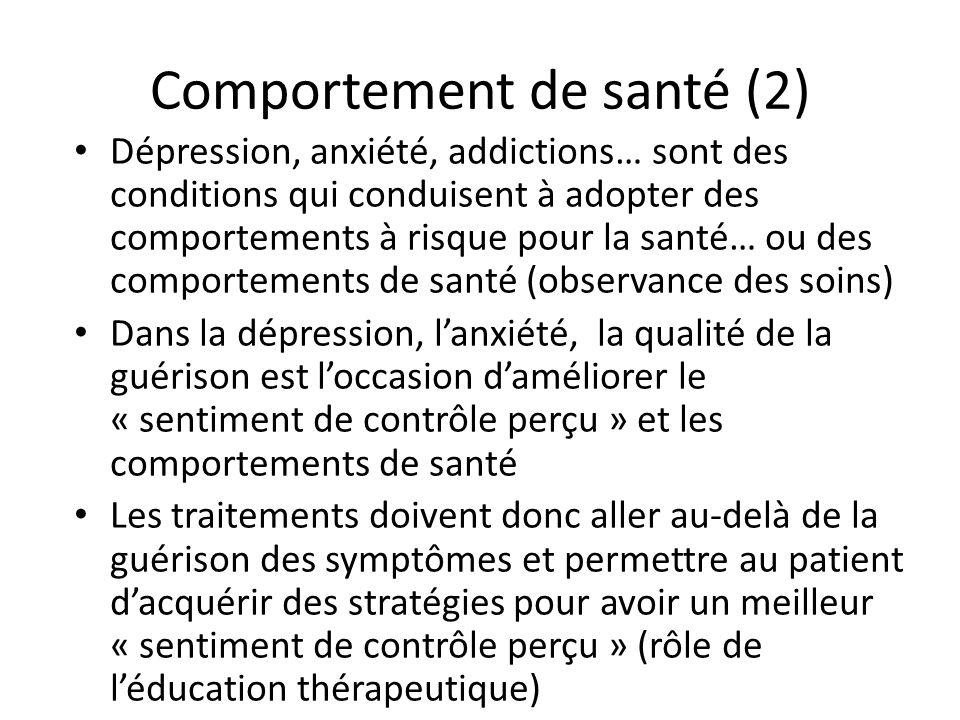 Comportement de santé (2) Dépression, anxiété, addictions… sont des conditions qui conduisent à adopter des comportements à risque pour la santé… ou d