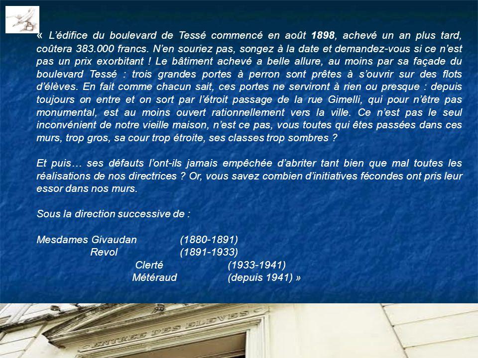 « Lédifice du boulevard de Tessé commencé en août 1898, achevé un an plus tard, coûtera 383.000 francs. Nen souriez pas, songez à la date et demandez-