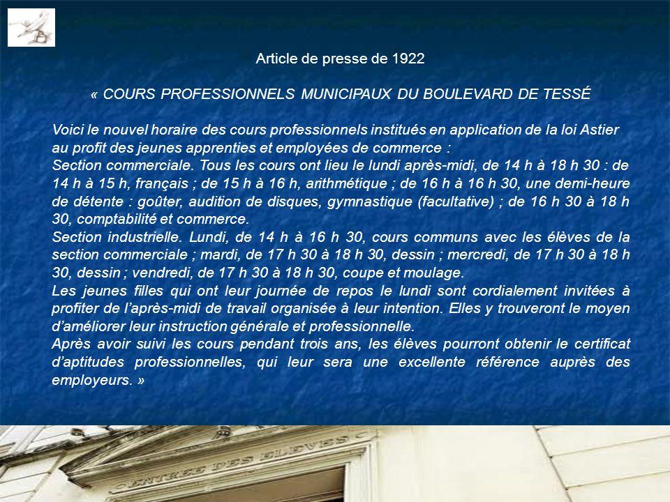 Article de presse de 1922 « COURS PROFESSIONNELS MUNICIPAUX DU BOULEVARD DE TESSÉ Voici le nouvel horaire des cours professionnels institués en applic