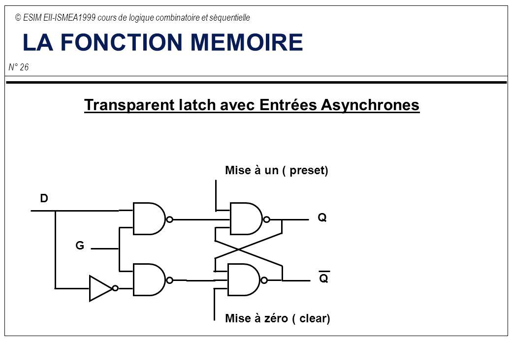 © ESIM EII-ISMEA1999 cours de logique combinatoire et séquentielle N° 26 LA FONCTION MEMOIRE Transparent latch avec Entrées Asynchrones D G Q Q Mise à