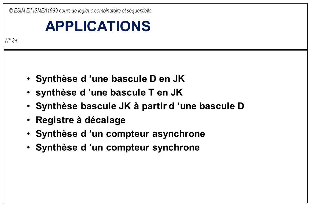 © ESIM EII-ISMEA1999 cours de logique combinatoire et séquentielle N° 34 APPLICATIONS Synthèse d une bascule D en JK synthèse d une bascule T en JK Synthèse bascule JK à partir d une bascule D Registre à décalage Synthèse d un compteur asynchrone Synthèse d un compteur synchrone