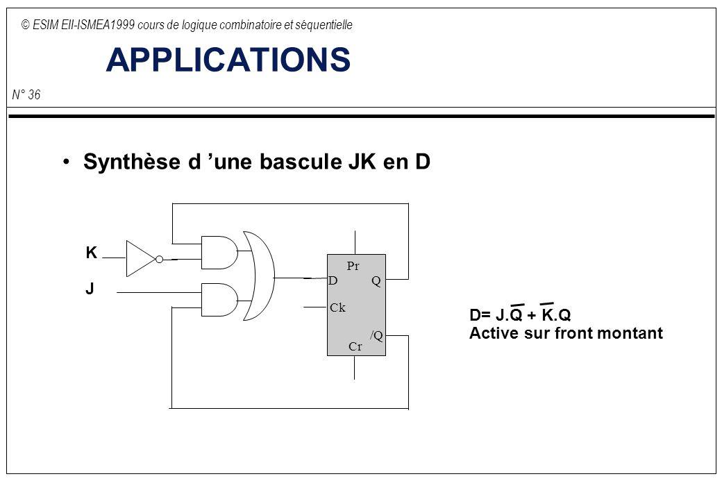 © ESIM EII-ISMEA1999 cours de logique combinatoire et séquentielle N° 36 APPLICATIONS Synthèse d une bascule JK en D D Ck Q /Q Pr Cr K J D= J.Q + K.Q Active sur front montant