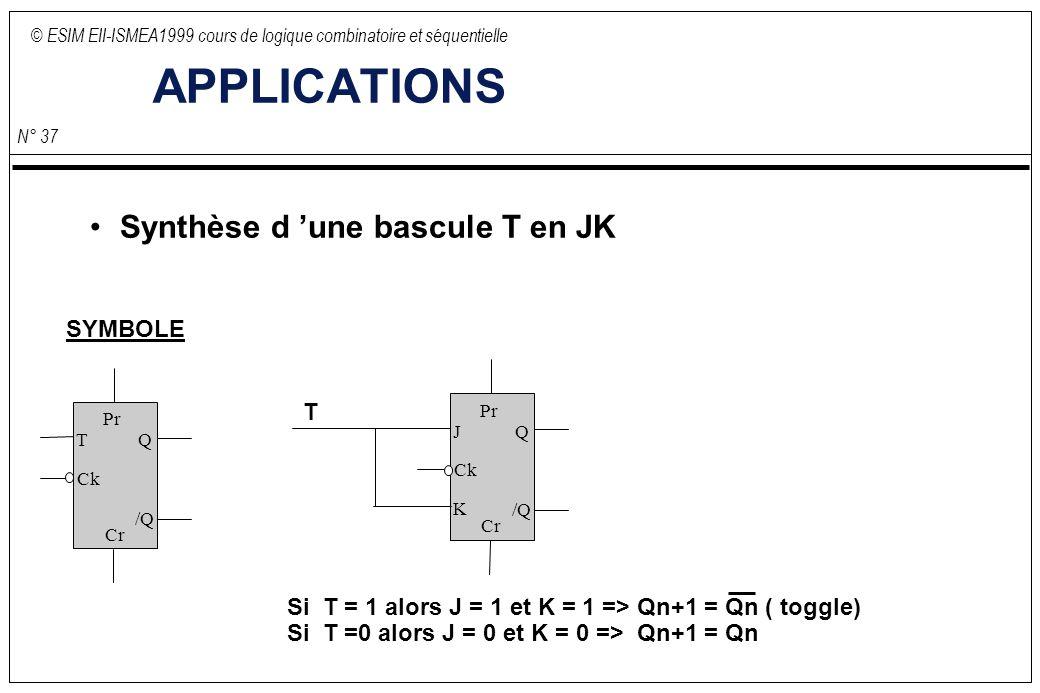 © ESIM EII-ISMEA1999 cours de logique combinatoire et séquentielle N° 37 APPLICATIONS Synthèse d une bascule T en JK T Ck Q /Q Pr Cr SYMBOLE J K Ck Q