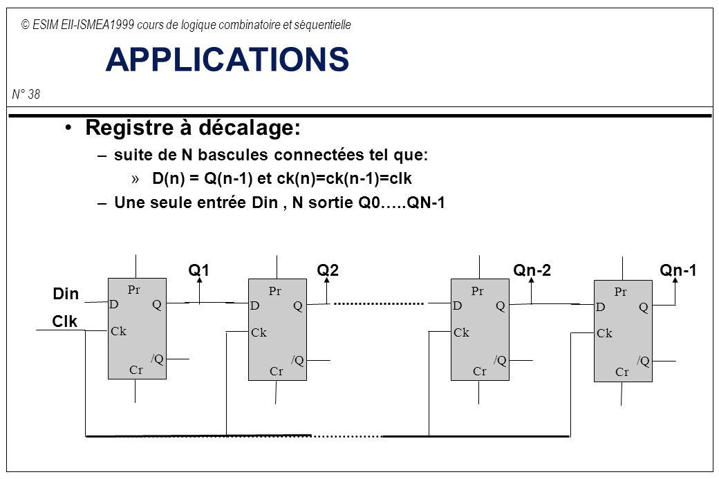 © ESIM EII-ISMEA1999 cours de logique combinatoire et séquentielle N° 38 APPLICATIONS Registre à décalage: –suite de N bascules connectées tel que: » D(n) = Q(n-1) et ck(n)=ck(n-1)=clk –Une seule entrée Din, N sortie Q0…..QN-1 D Ck Q /Q Pr Cr D Ck Q /Q Pr Cr D Ck Q /Q Pr Cr D Ck Q /Q Pr Cr Din Clk Q1Q2Qn-2Qn-1