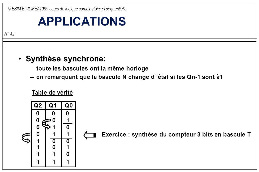 © ESIM EII-ISMEA1999 cours de logique combinatoire et séquentielle N° 42 APPLICATIONS Synthèse synchrone: –toute les bascules ont la même horloge –en