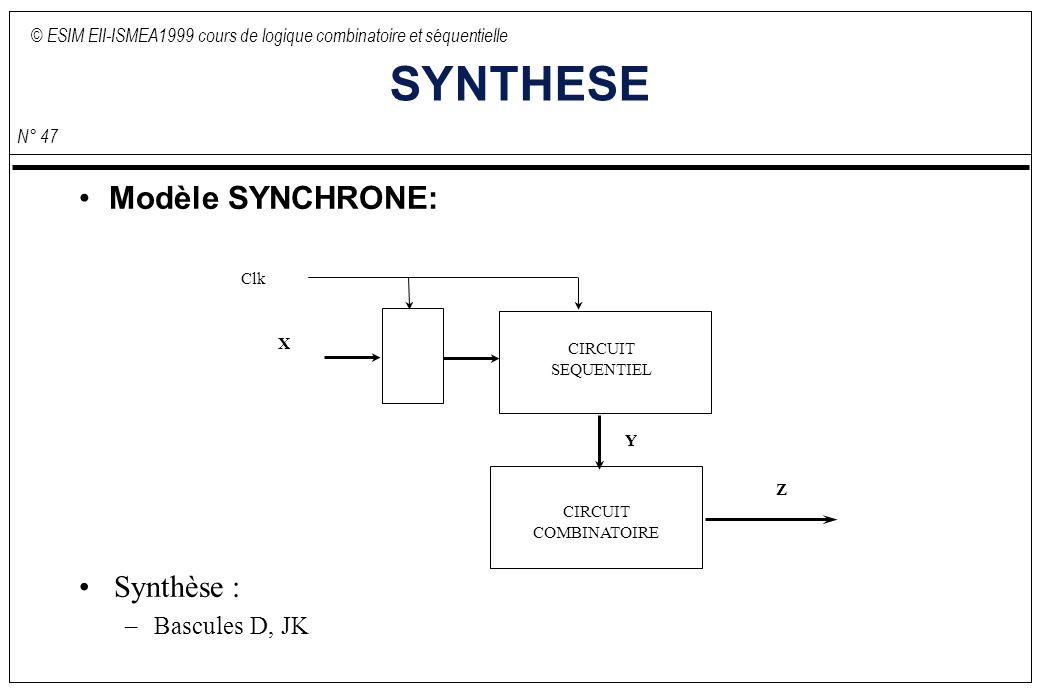 © ESIM EII-ISMEA1999 cours de logique combinatoire et séquentielle N° 47 SYNTHESE Modèle SYNCHRONE: CIRCUIT COMBINATOIRE CIRCUIT SEQUENTIEL X Y Z Clk Synthèse : –Bascules D, JK