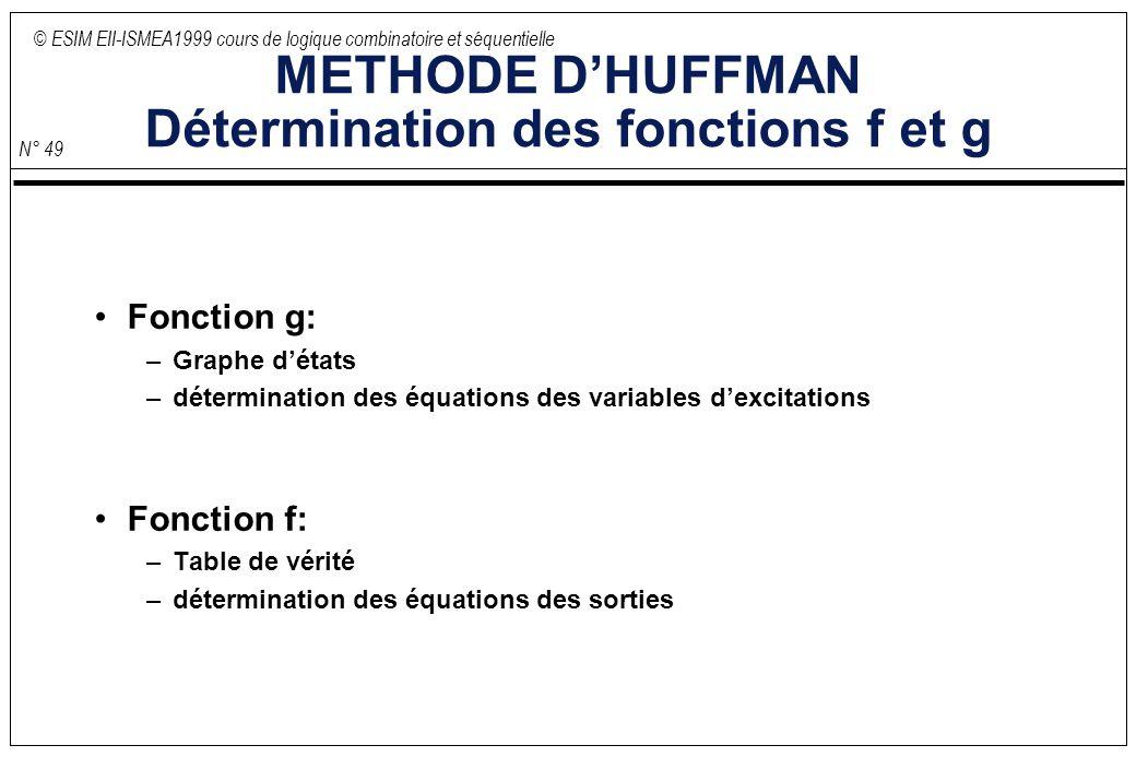 © ESIM EII-ISMEA1999 cours de logique combinatoire et séquentielle N° 49 METHODE DHUFFMAN Détermination des fonctions f et g Fonction g: –Graphe détat