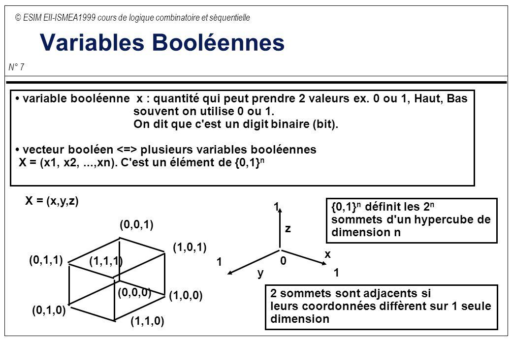 © ESIM EII-ISMEA1999 cours de logique combinatoire et séquentielle N° 7 Variables Booléennes variable booléenne x : quantité qui peut prendre 2 valeur