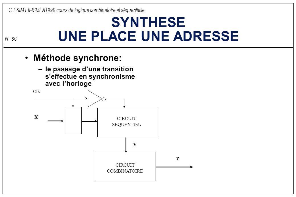 © ESIM EII-ISMEA1999 cours de logique combinatoire et séquentielle N° 86 SYNTHESE UNE PLACE UNE ADRESSE Méthode synchrone: –le passage dune transition seffectue en synchronisme avec lhorloge CIRCUIT COMBINATOIRE CIRCUIT SEQUENTIEL X Y Z Clk