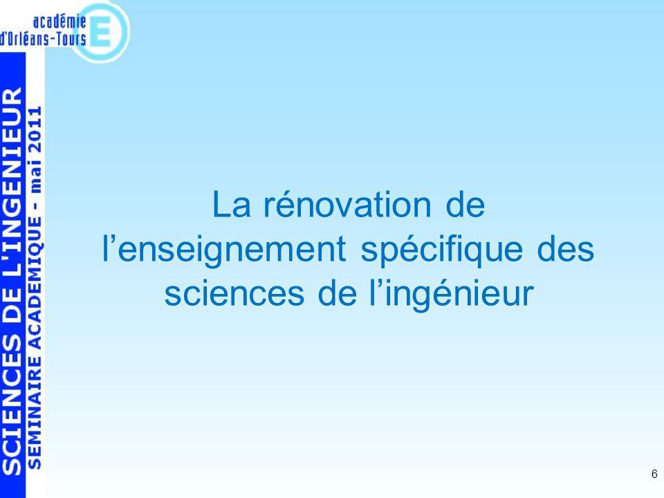 6 La rénovation de lenseignement spécifique des sciences de lingénieur