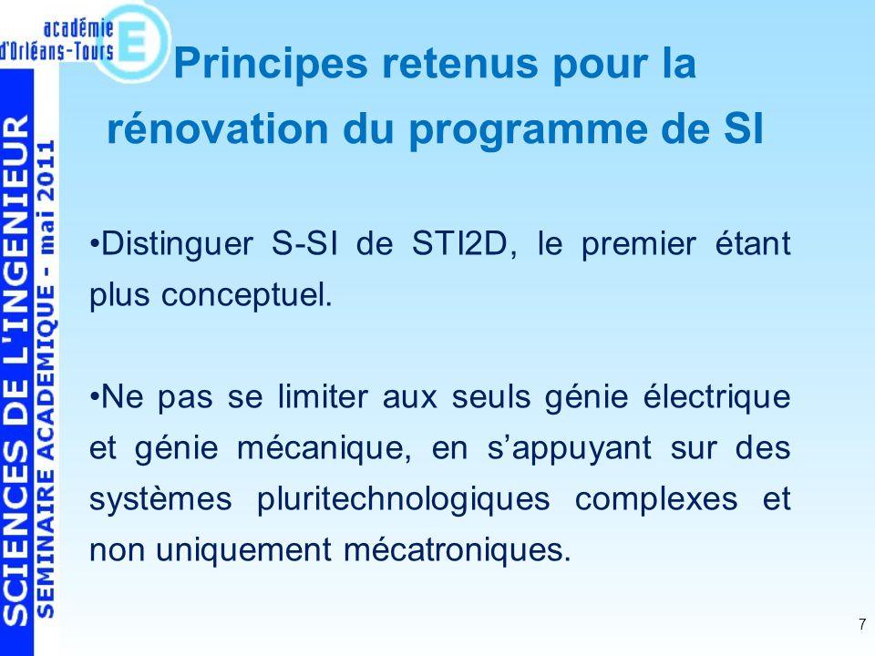 7 Distinguer S-SI de STI2D, le premier étant plus conceptuel.