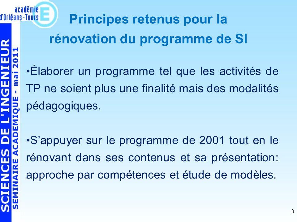 8 Élaborer un programme tel que les activités de TP ne soient plus une finalité mais des modalités pédagogiques.