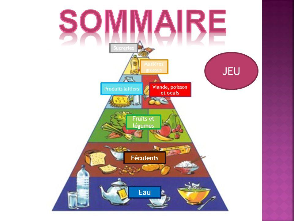 JEU Produits laitiers Fruits et légumes Féculents Eau Matières grasses Viande, poisson et oeufs Sucreries