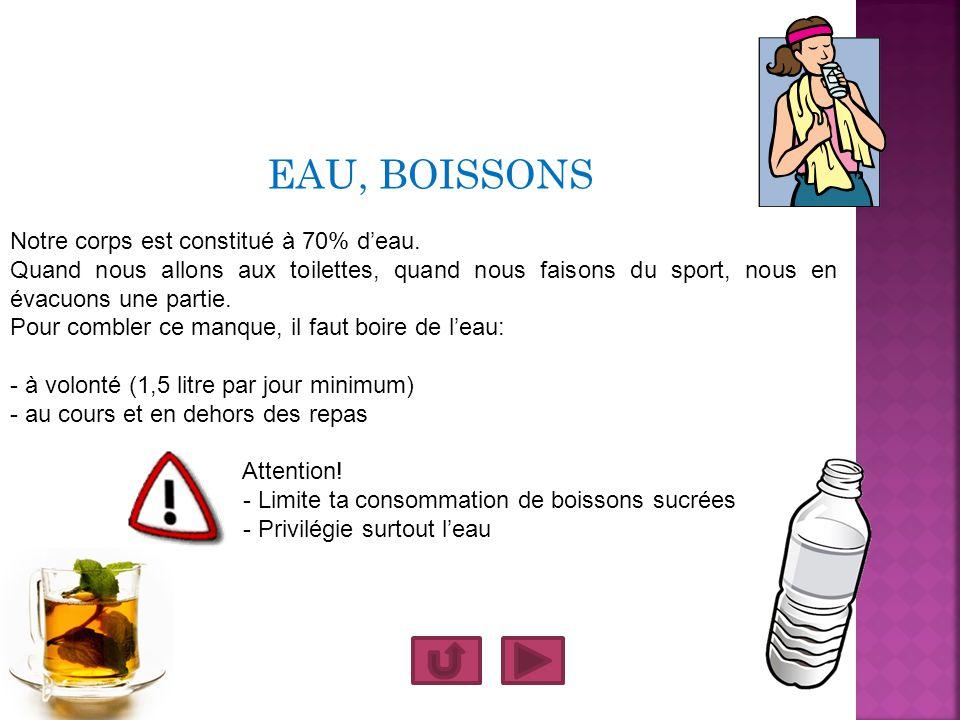 EAU, BOISSONS Notre corps est constitué à 70% deau. Quand nous allons aux toilettes, quand nous faisons du sport, nous en évacuons une partie. Pour co