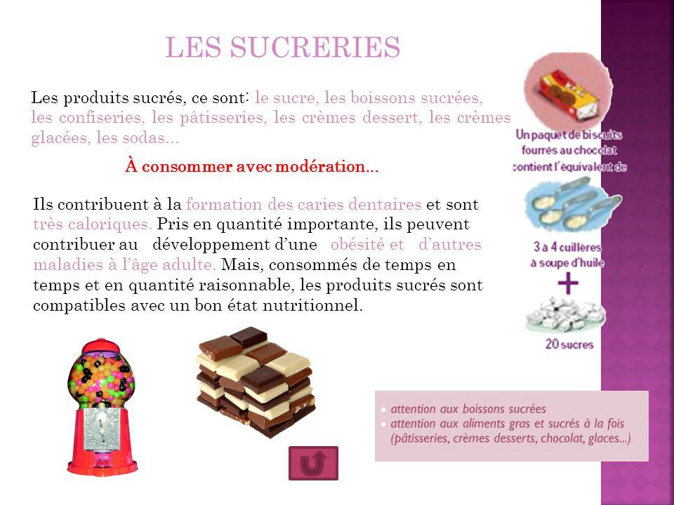 LES SUCRERIES Les produits sucrés, ce sont: le sucre, les boissons sucrées, les confiseries, les pâtisseries, les crèmes dessert, les crèmes glacées,