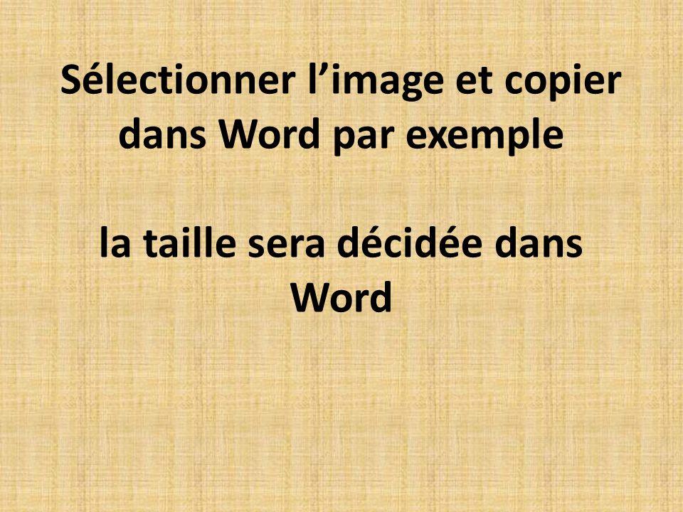 Sélectionner limage et copier dans Word par exemple la taille sera décidée dans Word