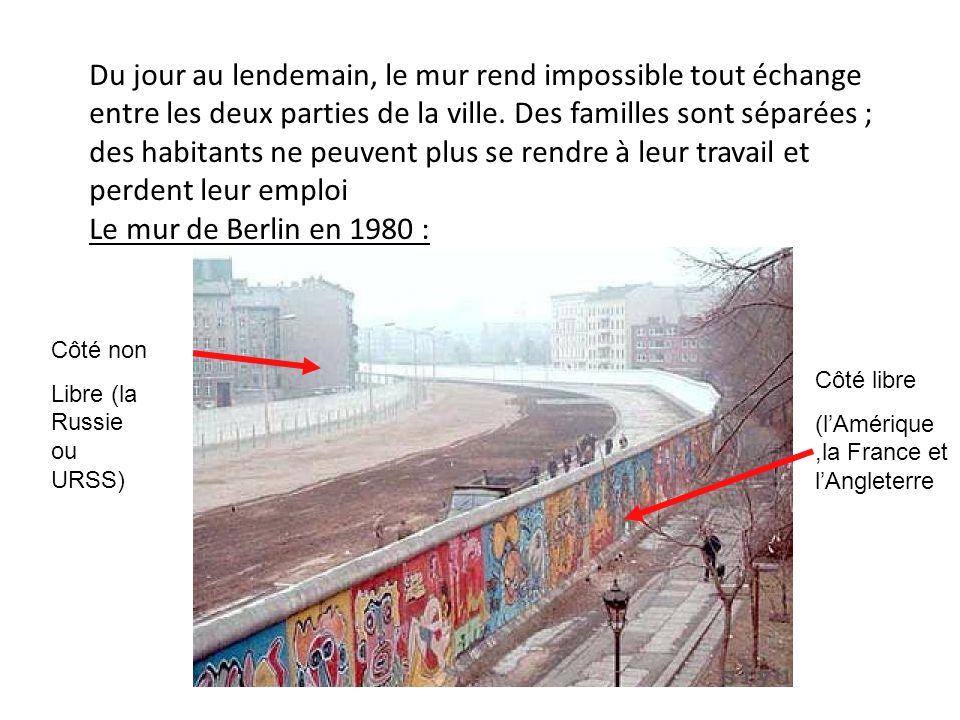 Du jour au lendemain, le mur rend impossible tout échange entre les deux parties de la ville.