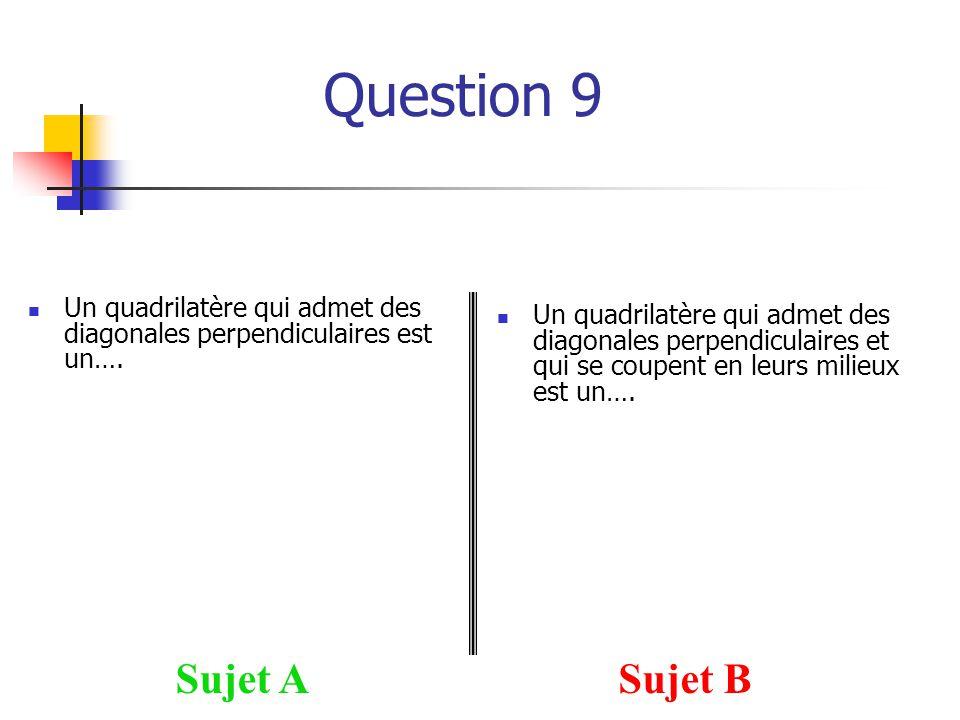 Question 9 Sujet ASujet B Un quadrilatère qui admet des diagonales perpendiculaires est un…. Un quadrilatère qui admet des diagonales perpendiculaires