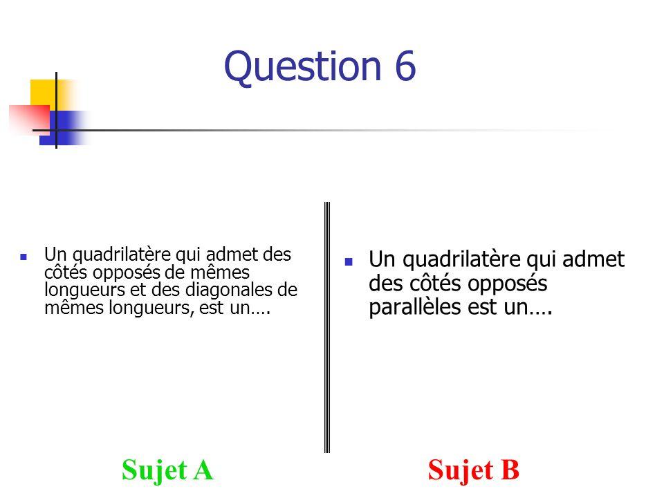Question 6 Sujet ASujet B Un quadrilatère qui admet des côtés opposés de mêmes longueurs et des diagonales de mêmes longueurs, est un….