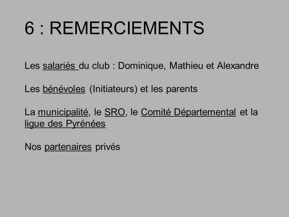 6 : REMERCIEMENTS Les salariés du club : Dominique, Mathieu et Alexandre Les bénévoles (Initiateurs) et les parents La municipalité, le SRO, le Comité Départemental et la ligue des Pyrénées Nos partenaires privés