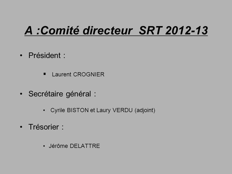 A :Comité directeur SRT 2012-13 Président : Laurent CROGNIER Secrétaire général : Cyrile BISTON et Laury VERDU (adjoint) Trésorier : Jérôme DELATTRE