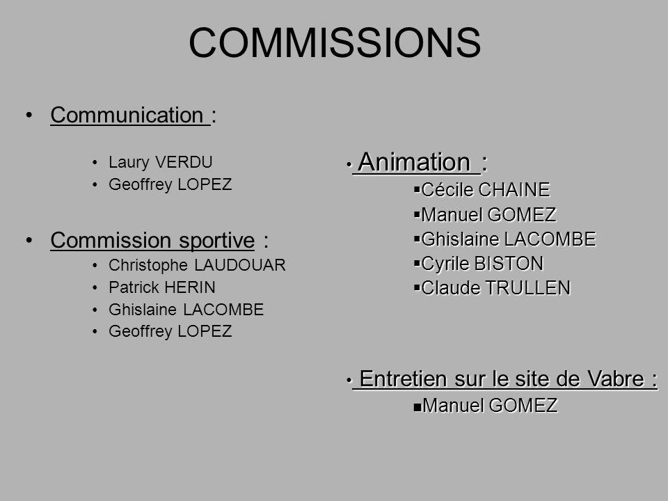 COMMISSIONS Communication : Laury VERDU Geoffrey LOPEZ Commission sportive : Christophe LAUDOUAR Patrick HERIN Ghislaine LACOMBE Geoffrey LOPEZ Animat