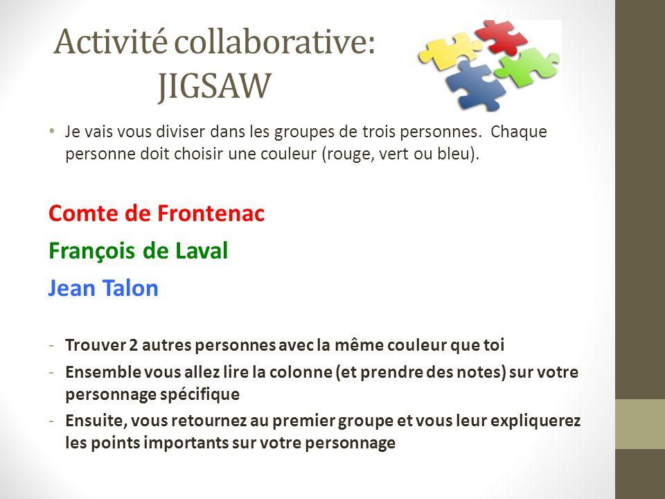 Activité collaborative: JIGSAW Je vais vous diviser dans les groupes de trois personnes.