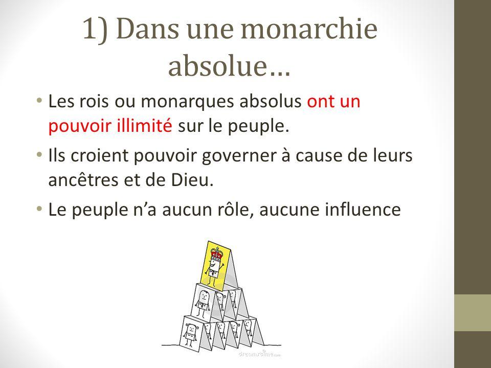 1) Dans une monarchie absolue… Les rois ou monarques absolus ont un pouvoir illimité sur le peuple.