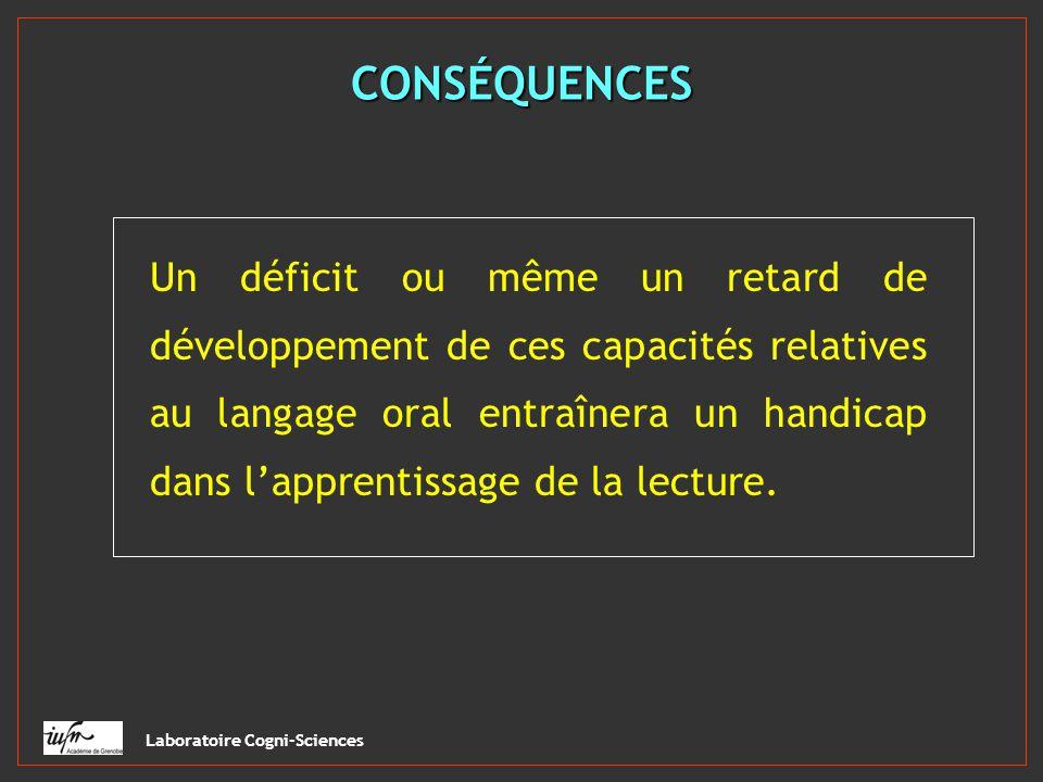 Laboratoire Cogni-Sciences CONSÉQUENCES Un déficit ou même un retard de développement de ces capacités relatives au langage oral entraînera un handica