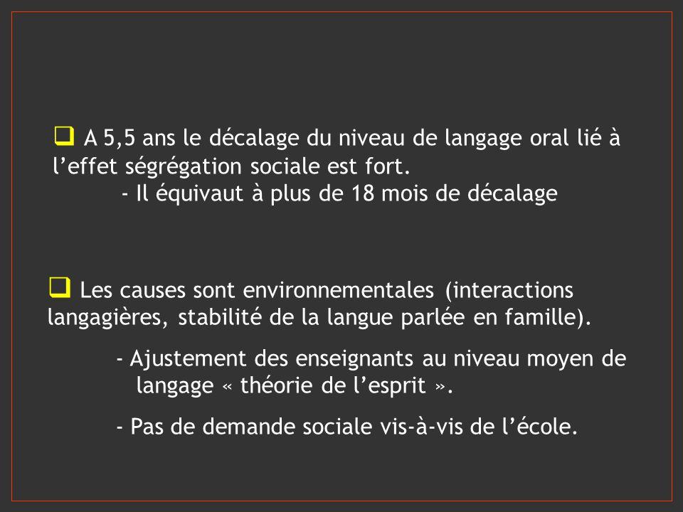 Les causes sont environnementales (interactions langagières, stabilité de la langue parlée en famille). - Ajustement des enseignants au niveau moyen d