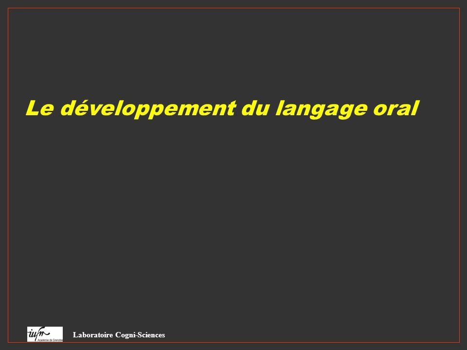 Le développement du langage oral Laboratoire Cogni-Sciences