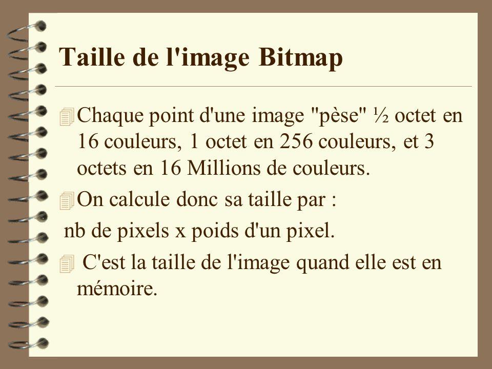 Taille de l'image Bitmap 4 Chaque point d'une image