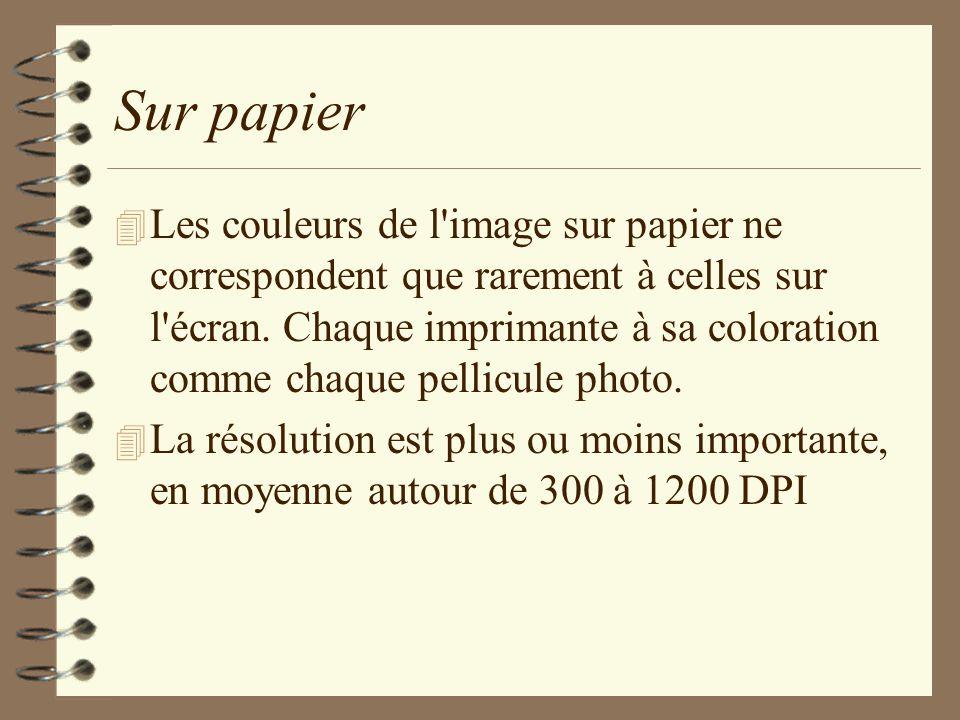 Sur papier 4 Les couleurs de l'image sur papier ne correspondent que rarement à celles sur l'écran. Chaque imprimante à sa coloration comme chaque pel