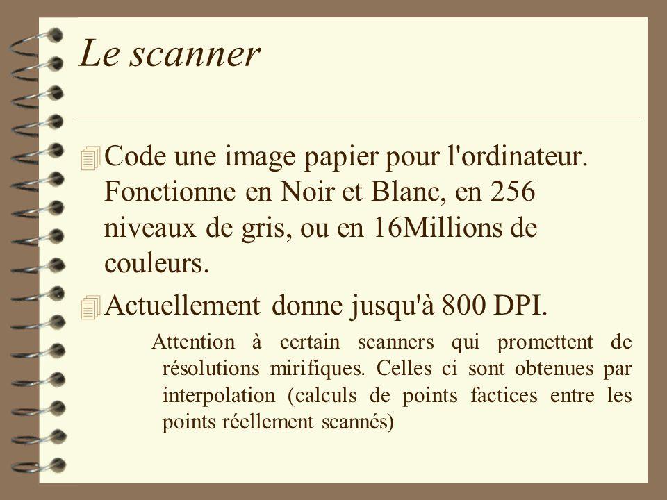 Le scanner 4 Code une image papier pour l'ordinateur. Fonctionne en Noir et Blanc, en 256 niveaux de gris, ou en 16Millions de couleurs. 4 Actuellemen