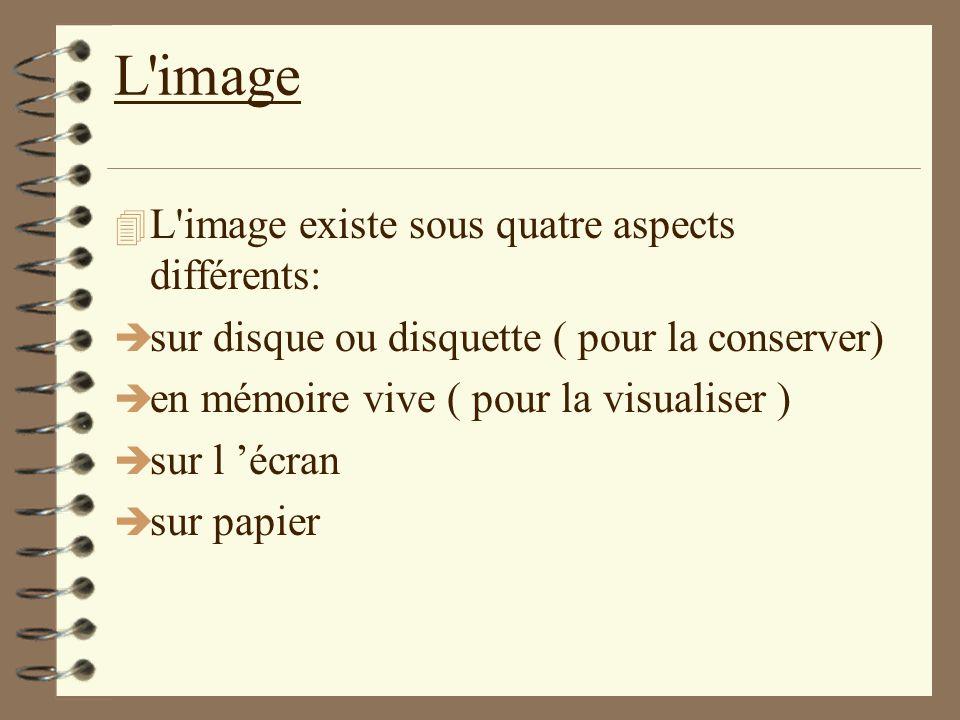 L'image 4 L'image existe sous quatre aspects différents: è sur disque ou disquette ( pour la conserver) è en mémoire vive ( pour la visualiser ) è sur