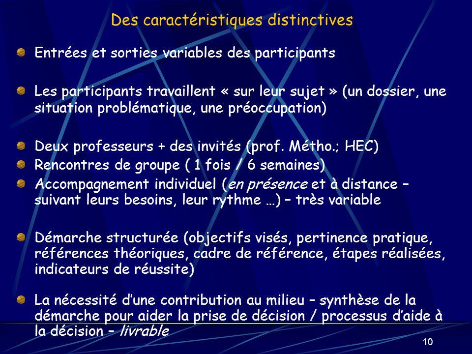 10 Des caractéristiques distinctives Entrées et sorties variables des participants Les participants travaillent « sur leur sujet » (un dossier, une si