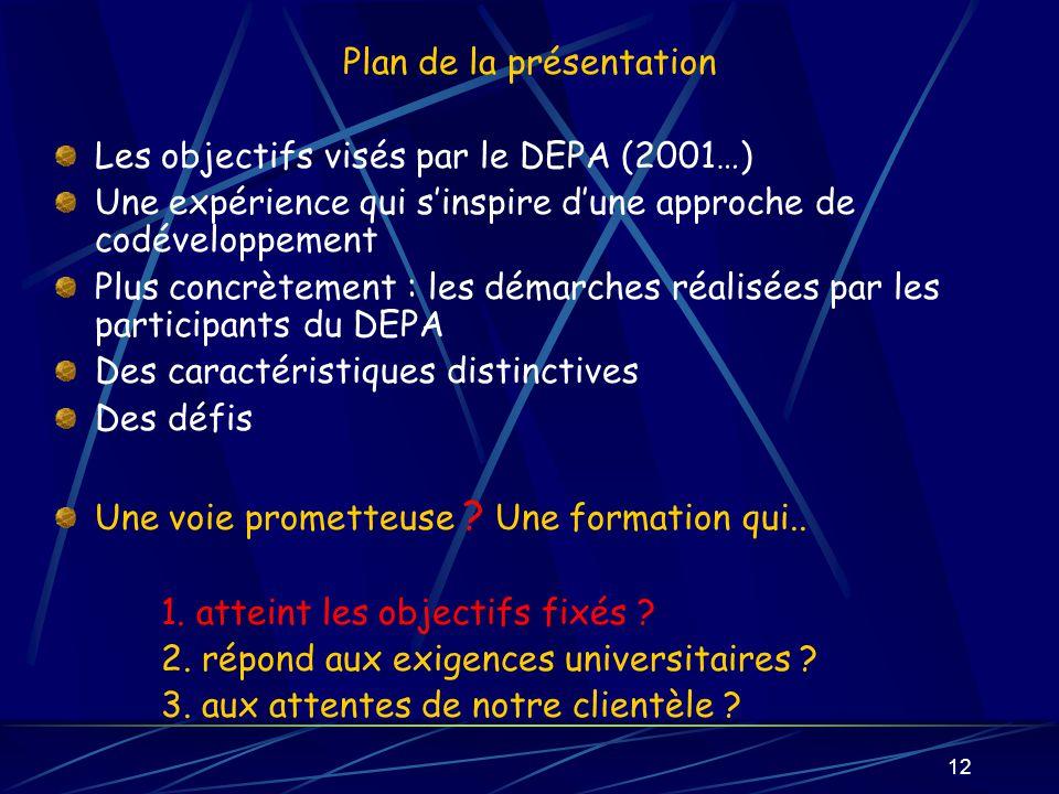 12 Plan de la présentation Les objectifs visés par le DEPA (2001…) Une expérience qui sinspire dune approche de codéveloppement Plus concrètement : les démarches réalisées par les participants du DEPA Des caractéristiques distinctives Des défis Une voie prometteuse .