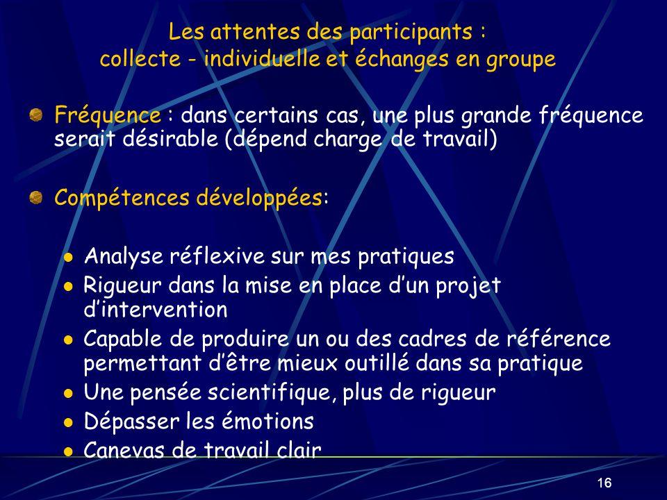 16 Les attentes des participants : collecte - individuelle et échanges en groupe Fréquence : dans certains cas, une plus grande fréquence serait désir