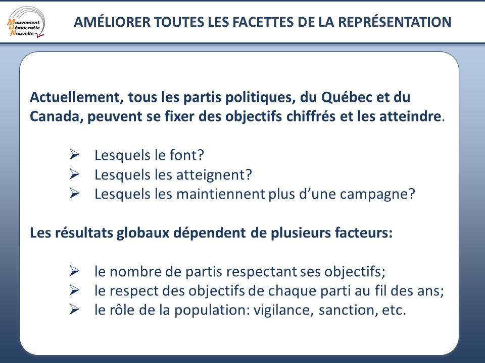 10 AMÉLIORER TOUTES LES FACETTES DE LA REPRÉSENTATION Actuellement, tous les partis politiques, du Québec et du Canada, peuvent se fixer des objectifs