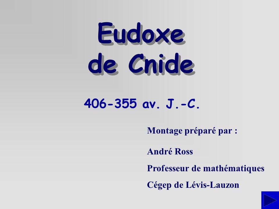 406-355 av. J.-C. Montage préparé par : André Ross Professeur de mathématiques Cégep de Lévis-Lauzon Eudoxe de Cnide Eudoxe de Cnide