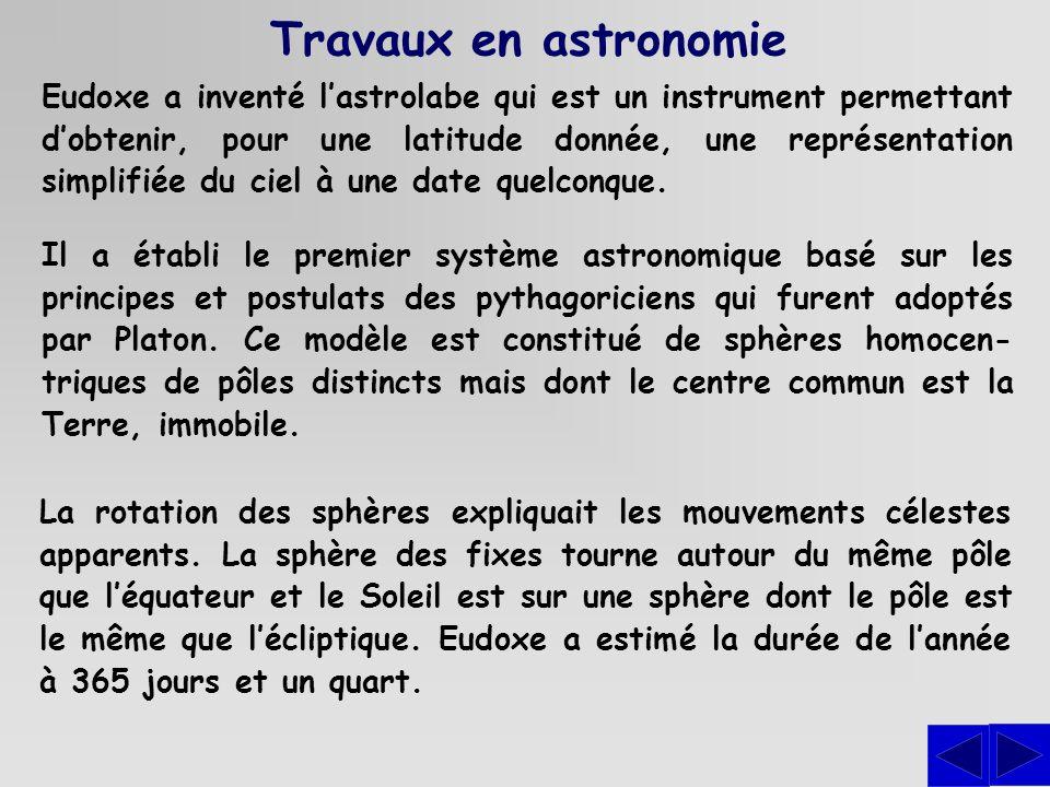 Travaux en astronomie Il a établi le premier système astronomique basé sur les principes et postulats des pythagoriciens qui furent adoptés par Platon.